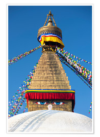 Premium-Poster  Bodhnath Stupa (Boudhanth) (Boudha), one of the holiest Buddhist sites in Kathmandu, UNESCO World He - Lee Frost