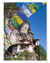 Premium-Poster  Taktshang Goemba (Tiger's Nest Monastery) and prayer flags, Paro Valley, Bhutan, Asia - Lee Frost