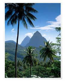 Premium-Poster Die Pitons, St. Lucia