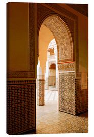 Leinwandbild  Large patio columns with azulejos decor, Islamo-Andalucian art, Marrakech Museum, Marrakech, Morocco - Guy Thouvenin