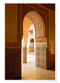Premium-Poster Large patio columns with azulejos decor, Islamo-Andalucian art, Marrakech Museum, Marrakech, Morocco
