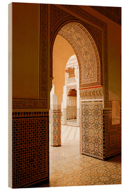 Holzbild  Large patio columns with azulejos decor, Islamo-Andalucian art, Marrakech Museum, Marrakech, Morocco - Guy Thouvenin