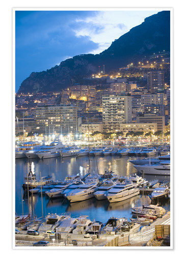 Premium-Poster Harbour in the Port of Monaco, Principality of Monaco, Cote d'Azur, Mediterranean, Europe