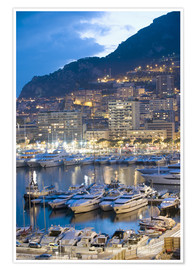 Premium-Poster  Harbour in the Port of Monaco, Principality of Monaco, Cote d'Azur, Mediterranean, Europe - Christian Kober