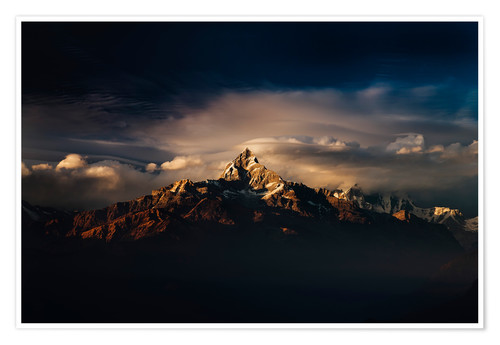 Premium-Poster Machapuchare (Machhapuchhre) (Fish Tail) mountain, in the Annapurna Himal of north central Nepal, Ne