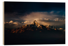 Holzbild  Machapuchare (Machhapuchhre) (Fish Tail) mountain, in the Annapurna Himal of north central Nepal, Ne - Mark Chivers