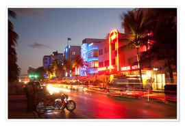 Premium-Poster Ocean Drive, South Beach, Art Deco district, Miami Beach, Miami, Florida, United States of America,