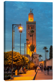 Leinwandbild  The Minaret of Koutoubia Mosque illuminated at night, UNESCO World Heritage Site, Marrakech, Morocco - Martin Child