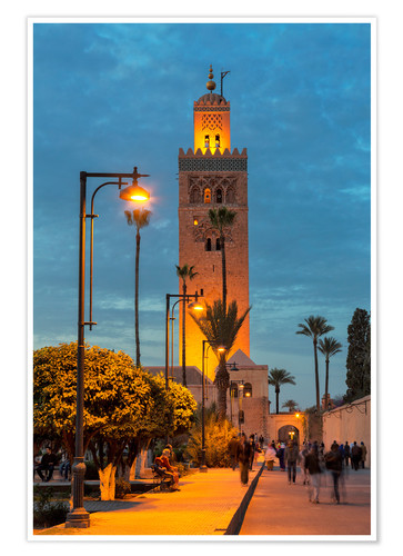 Premium-Poster The Minaret of Koutoubia Mosque illuminated at night, UNESCO World Heritage Site, Marrakech, Morocco