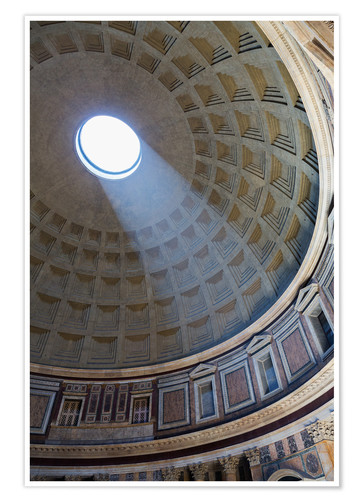 Premium-Poster A shaft of light through the dome of the Pantheon, UNESCO World Heritage Site, Rome, Lazio, Italy, E