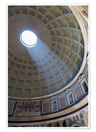Premium-Poster  A shaft of light through the dome of the Pantheon, UNESCO World Heritage Site, Rome, Lazio, Italy, E - Martin Child