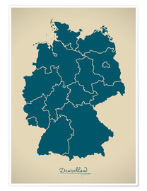 Premium-Poster Deutschland Landkarte Modern Map Artwork Design