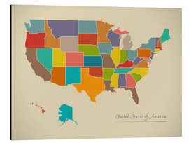 Alubild  USA Landkarte Modern Map Artwork Design - Ingo Menhard