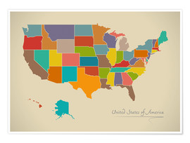 Premium-Poster USA Landkarte Modern Map Artwork Design