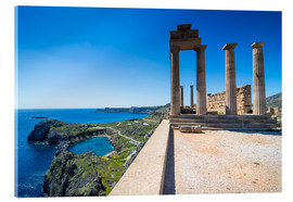 Acrylglasbild  Acropolis of Lindos, Rhodes, Dodecanese Islands, Greek Islands, Greece, Europe - Michael Runkel