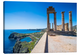 Leinwandbild  Acropolis of Lindos, Rhodes, Dodecanese Islands, Greek Islands, Greece, Europe - Michael Runkel