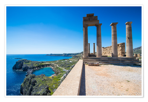 Premium-Poster Acropolis of Lindos, Rhodes, Dodecanese Islands, Greek Islands, Greece, Europe