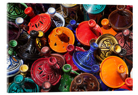 Acrylglas  Colourful tajines, Essaouira, Atlantic coast, Morocco, North Africa, Africa - Stuart Black