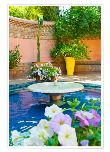 Premium-Poster Fountain and flowers in the Majorelle Gardens (Gardens of Yves Saint-Laurent), Marrakech, Morocco, N