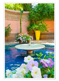 Premium-Poster  Fountain and flowers in the Majorelle Gardens (Gardens of Yves Saint-Laurent), Marrakech, Morocco, N - Matthew Williams-Ellis