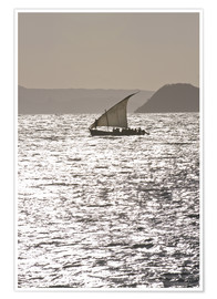Premium-Poster Small sailing boat at sunset near Diego Suarez (Antsiranana), Madagascar, Indian Ocean, Africa