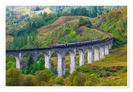 Premium-Poster  Train on the Glenfinnan Railway Viaduct, part of the West Highland Line, Glenfinnan, Loch Shiel, Hig - Alan Copson