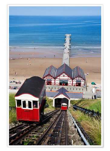 Premium-Poster Cliff Tramway and the Pier at Saltburn by the Sea, Redcar and Cleveland, North Yorkshire, Yorkshire,