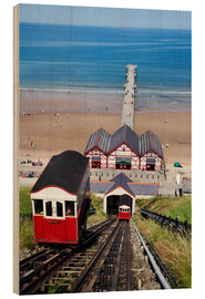 Holzbild  Cliff Tramway and the Pier at Saltburn by the Sea, Redcar and Cleveland, North Yorkshire, Yorkshire, - Mark Sunderland