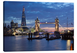 Leinwandbild  Shard und Tower Bridge bei Nacht - Stuart Black
