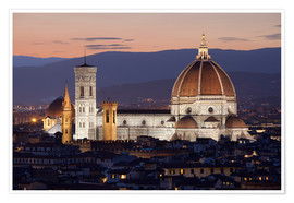 Premium-Poster Duomo at night from Piazza Michelangelo, Florence, UNESCO World Heritage Site, Tuscany, Italy, Europ