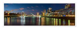 Premium-Poster Puente de la Mujer (Bridge of the Woman) at dusk, Puerto Madero, Buenos Aires, Argentina, South Amer