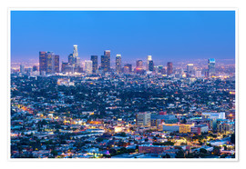 Premium-Poster Cityscape of the Los Angeles skyline at dusk, Los Angeles, California, United States of America, Nor
