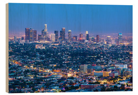 Holzbild  Cityscape of the Los Angeles skyline at dusk, Los Angeles, California, United States of America, Nor - Chris Hepburn