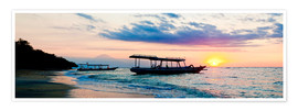 Premium-Poster  Mount Agung on Bali and fishing boats silhouetted against a sunset, Gili Trawangan, Gili Isles, Indo - Matthew Williams-Ellis