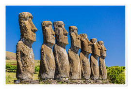 Premium-Poster  Seven Moai at Ahu Akivi, the first restored altar on Easter Island (Isla de Pascua) (Rapa Nui), UNES - Michael Nolan