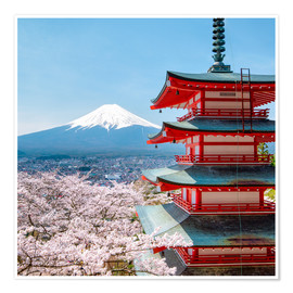 Premium-Poster Chureito Pagoda in Yamanashi Japan