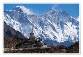 Premium-Poster  Tenzing Norgye Stupa & Mount Everest - John Woodworth