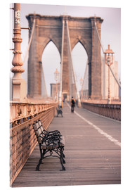 Acrylglasbild  Bank auf der Brooklyn Bridge - Amanda Hall