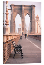 Leinwandbild  Bank auf der Brooklyn Bridge - Amanda Hall