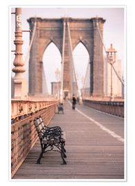 Premium-Poster Bank auf der Brooklyn Bridge
