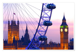 Premium-Poster London Eye & Houses of Parliament