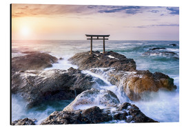 Alubild  Japanisches Torii in Japan am Meer - Jan Christopher Becke