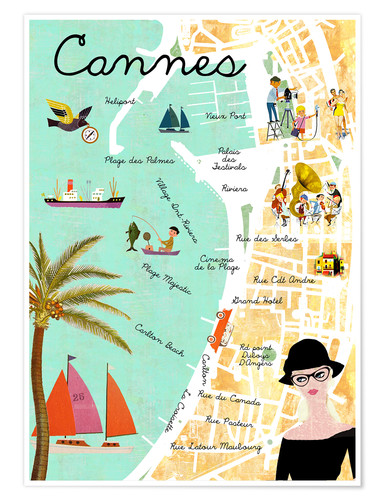 Premium-Poster Cannes vintage Collage