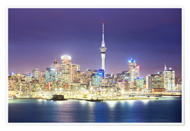 Poster Auckland Stadtzentrum Skyline bei Nacht, New Zealand