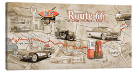 Leinwandbild  Route 66 Map - Georg Huber
