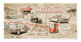 Premium-Poster  Route 66 Map - Georg Huber