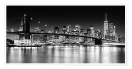 Premium-Poster New York City Skyline bei Nacht (monochrom)
