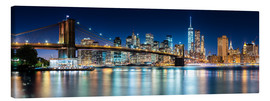 Leinwandbild  New York City Skyline bei Nacht (Panorama) - Sascha Kilmer