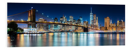 Hartschaumbild  New York City Skyline bei Nacht (Panorama) - Sascha Kilmer