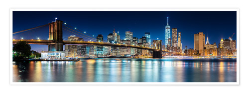Premium-Poster New York City Skyline bei Nacht (Panorama)